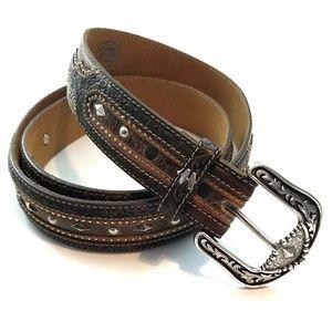 Tony Lama Mens Silver Buckle Western Studded Belt